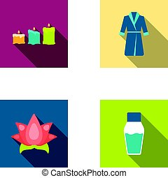 Multicolored candles with a flame, a blue robe with a belt, a lotus flower with petals, a bottle of cream. Spa set collection icons in flat style vector symbol stock illustration web.