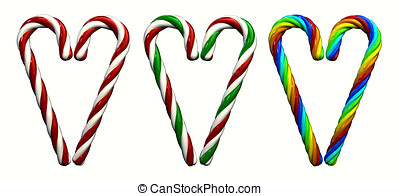 Multicolored candy canes ,3d illustration , isolated on...