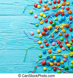 Multicolored candy,space for text