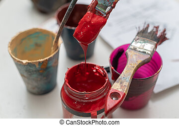 Cans of Gouache Paint with Paintbrush