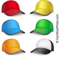 multicolored caps - The multicolored mesh empty template cap...