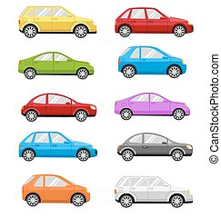 Multicolored Cars Collection Isolated on White