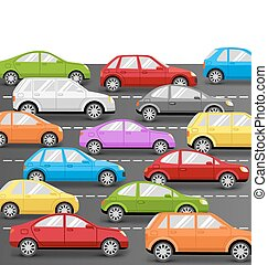 Cars on Road. Transport Background - Multicolored Cars on...