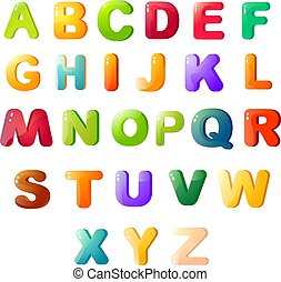Multicolored cartoon beautiful alphabet on a white background