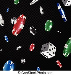 Multicolored Casino poker chips falling isolated on black transparency background