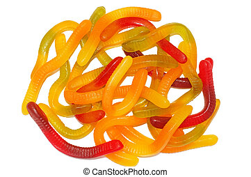 Multicolored Chewing marmalade as worms isolated