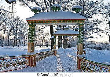 Chinese bridge in winter park