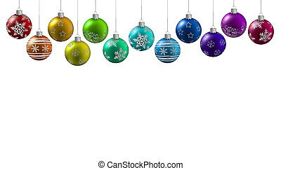 multicolored christmas balls hanging on a white background