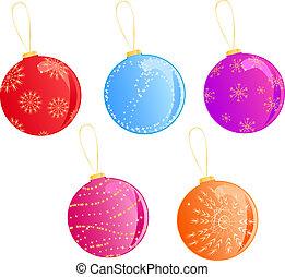 Multicolored christmas balls set