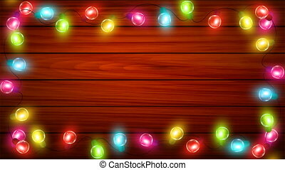 Multicolored Christmas garlands on the background of boards,...