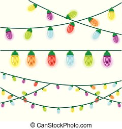 Multicolored Christmas lights illustrated on a white background