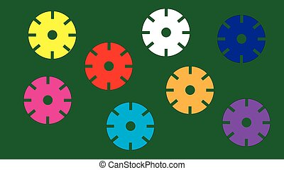 Multicolored circles isolated green background.