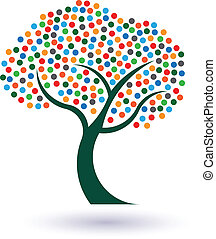 Multicolored circles tree image. Concept of fruitful and...