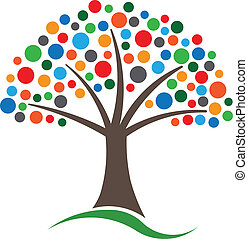 Multicolored circles tree image. Concept of Happiness and...