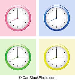 Multicolored clock set.