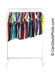 Multicolored clothes on hangers, isolate