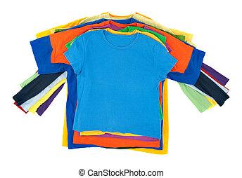 Multicolored clothes pile