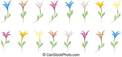 Multicolored colorful lilies set of elements for design isolated on white