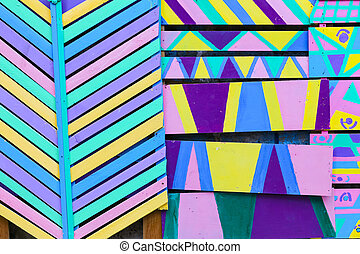 Multicolored Colorful Wood Panel Wall
