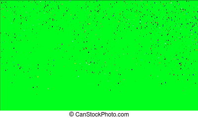 Multicolored Confetti Falling Over Green Screen