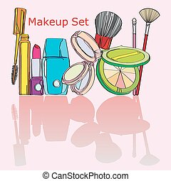 multicolored cosmetics Set painted by hand on a pink background