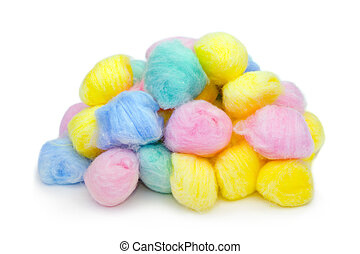 Multicolored cotton balls, isolated on white background.
