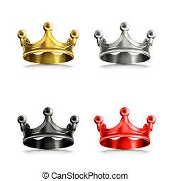 Multicolored crowns vector set