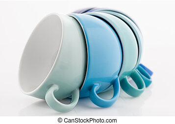 Multicolored Cups - Multicolored tea or coffee cups isolated...