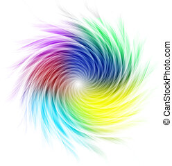 Multicolored curves forming a spiral against a white...