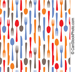 Multicolored cutlery icons background
