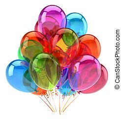 multicolored, decoração, aniversário, lustroso, partido, balões, feliz