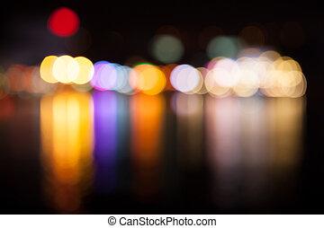 Multicolored defocused lights
