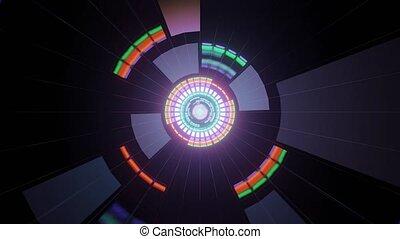 Luminous Spectra in Dark Tunnel 4k uhd 3d rendering vj loop