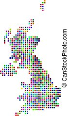Multicolored Dot United Kingdom Map