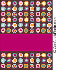 Multicolored dots background following a sequential pattern with a purple band for insert your own text label.