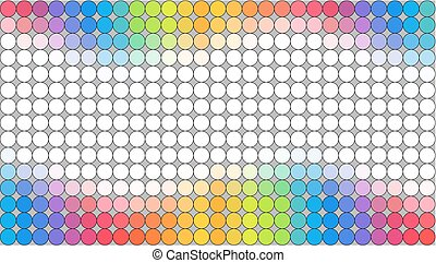 Multicolored dotted banner over grey background