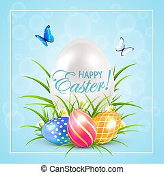 Easter eggs and butterflies