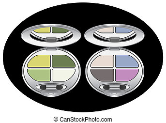 multicolored eye shadows - sets of multicolored eyeshadows...