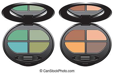 multicolored eye shadows - sets of multicolored eye shadows...