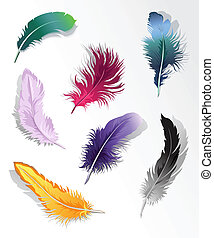 Multicolored feather%u2019s set - Set of 7 colorful...