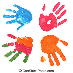 multicolored fingerprints - several multicolored children...