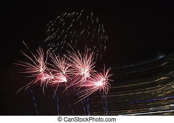 Multicolored fireworks.