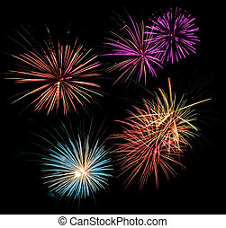 Multicolored Fireworks - Multicolored fireworks display in a...