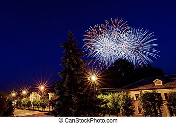 Multicolored fireworks on the holiday over the city against the night sky