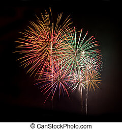 Multicolored fireworks square