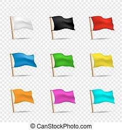 multicolored flags icon set