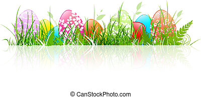 Easter Eggs - Multicolored Floral Decorated Easter Eggs in...