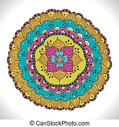 Multicolored Floral Mandala. Colorful decorative round ornament