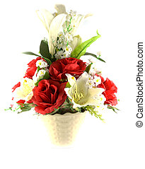 Multicolored flowers in a vase, isolated on white background