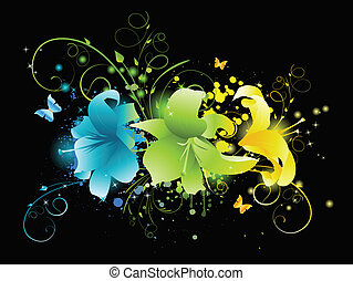 Multicolored flowers on black background with floral,...